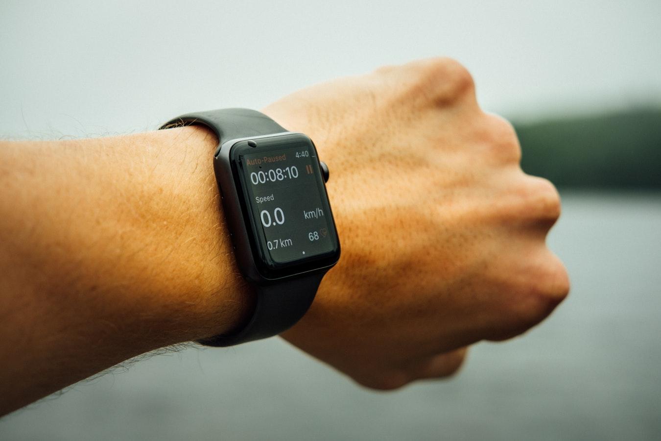 image of a man's wrist wearing an apple watch