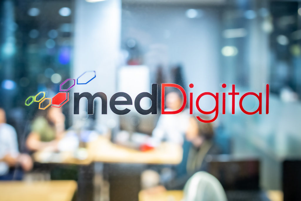 medDigital logo on frosted glass